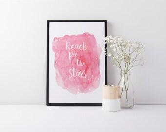 Reach For The Stars Watercolour Pink Print - Stars Print - Nursery Print - Decor Print