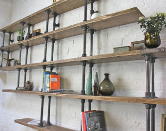 Emilie Asymmetric Reclaimed Scaffolding Boards and Dark Steel Pipe Shelves/Bookcase - Bespoke Urban Shelving System by www.urbangrain.co.uk