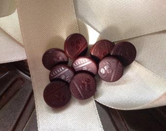 Set of 9 Vintage Vegetable Ivory Buttons. Tagua Nut. Stylish.