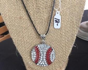 Rhinestone baseball necklace