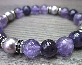 Amethyst bracelet and swarowski lilac pearls - stones 8mm