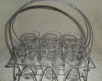 Vtage Metal Wire Rack Holder Carrier Drinking Caddy For Set of 6 Small Glasses / Juice