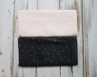 Baby Girl Pink and Grey Burp Cloth Set
