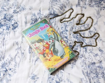 VHS video case handbag, The Jungle Book shoulder bag, clutch, retro, up-cycled