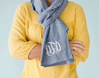 SALE: Women's Chambray Scarf - Monogrammed Scarf