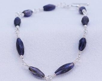 Wire-wrapped Iolite Bracelet