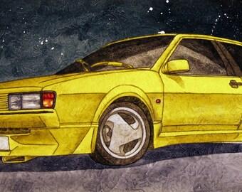 Volkswagen Scirocco Acrylic Painting | VW, Neuspeed | Illustration | SCAD