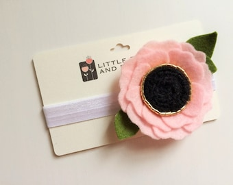 Felt flower alligator clip or headband -Baby Pink Poppy with gold and black center and green leaves