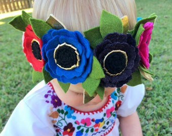 Felt flower crown with green leaves headband - turqouise, fuchsia, purple, blue, red, pink poppy