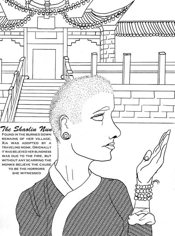nun coloring page - items similar to shaolin nun woman warrior adult coloring
