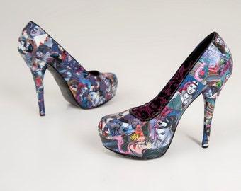 harley quinn shoes etsy uk