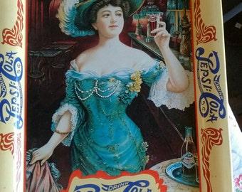 Vintage-victorian-woman-pepsi-cola-tray-metal-1980's