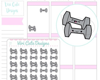 Kawaii Work Out Stickers, Dumbbell Stickers, Gym Stickers, Weights Stickers, exercise Stickers, Planner Stickers, Fitness Stickers | 017