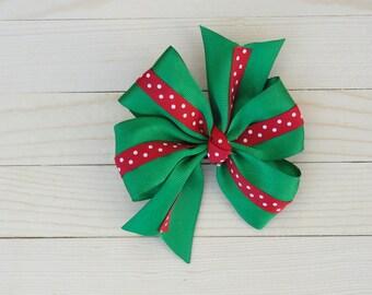 Green & Red Pinwheel Bow