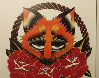 Fox with Roses & Rope (Giclee Print)