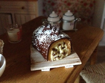 Big Yule log with chocolate and cream English polymer clay