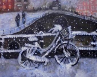 Original acriyl  painting Snow city