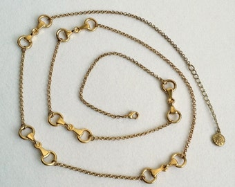Signed LC Gold Tone Bow Station Long Necklace. Vintage Gold Tone Liz Claiborne Necklace
