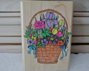 Basket of flowers wood mounted stamp