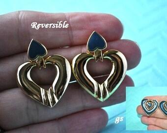 50% OFF***Reversible Heart Earrings, Gold Tone, Door Knocker, Blue Green Earrings, Gold Earrings, Dangle Earrings, Pierced Earrings, GS445