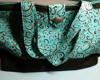 Turquoise with Brown Marble Womens Handbag/Totebag