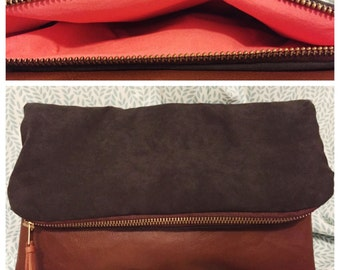 Foldover Clutch (faux leather/suede)