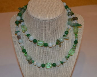 Green long single (or double) strand necklace