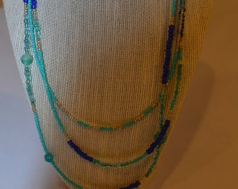 Turquoise and blue super long single strand (or double or even triple strand) necklace