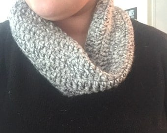 Grey Verigated Infinity Scarf