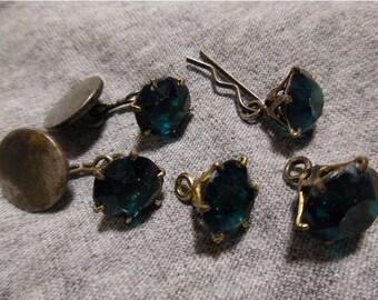 Vintage Faux Emerald Ladies' Cuff/Dress Studs
