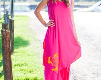 Maxi dress, double layer dress, evening gown, maternity dress, blue, hot pink, black, bamboo, cotton