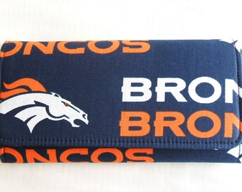 Denver Broncos cotton clutch wallet, handmade, gift ideas for women, girls