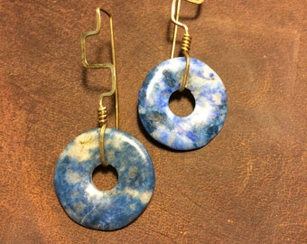 Brass and Stone Earrings - Lapis Lazuli