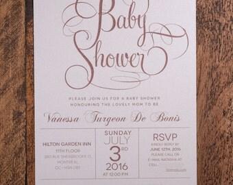 Rose Gold Baby Shower Invitation, Rose Gold Baby Shower Invitations, Flourish Baby Shower Invitations, Modern Baby Shower Invitations