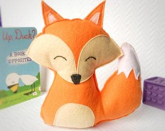 Plush Fox, Fox baby shower, Fox Nursery, Fox Decor, Handmade Fox, Toy Fox, Stuffed Fox, Woodlands Nursery