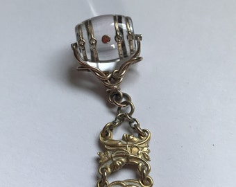 Victorian Crystal Barrel Watch Fob and Chain, Gorgeous #178