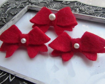 Girl Red trio set of Bow/ Hair Accessories For Children/ Bow clip/Girl/Baby