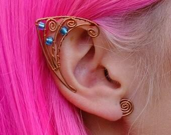 Lovely Wire Elf Ear Cuffs Copper Wire Ear Cuff Blue Beads Ear Cuffs Elven Ears Earcuffs Fairy Pixie Cosplay Fantasy Jewelry Earrings