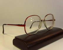 Metallic Red 80's Vintage Eye Glasses Frame Zeiss West Germany Eyewear Eyeglasses Small sized Round FREE SHIPPING for him her man women lady