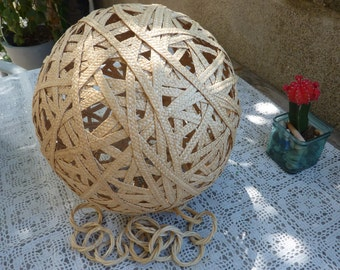 Lampshade pendant light  in rattan bamboo Wicker woven retro 50 60 70 vintage years