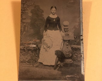 Tintype Photo of a Young Woman Holding her Hat and Umbrella, Antique Photograph