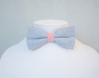 bow tie for men blue and orange pastel - gift for him - Wedding