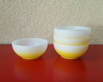 Vintage Yellow Fade- Fire King- Cereal Bowls- set of 4