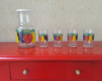Vintage Juice Carafe with Lid and 4 Glasses