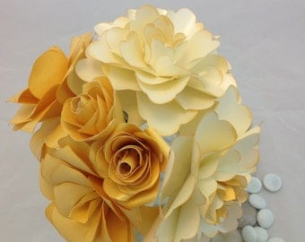Paper Flower Bouquet and Coordinating Boutonniere
