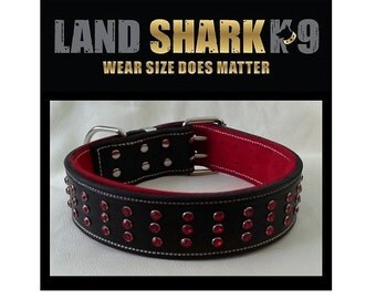Black Leather Dog Collar with Red Suede Padded Inner Lining and Red Crystals