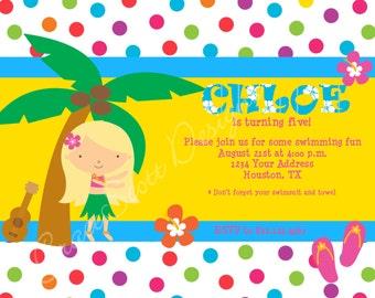 Hula Birthday Invitation:  Digital Print, Printable, Personalized