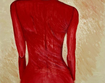 Oil original painting - Lady in red