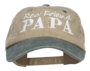 Real Friend Papa Embroidered Washed Cap