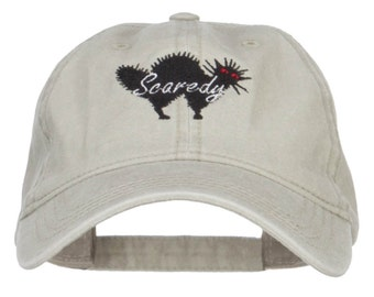 Scaredy Cat Embroidered Washed Cap